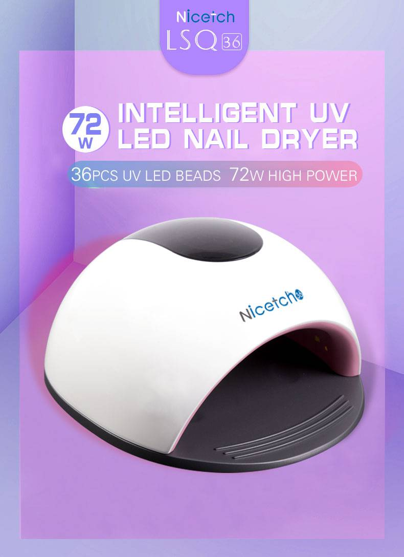 Professional 72w 36pcs Beads with Intelligent Timer Setting Nail Dryer UV LED Nail Lamp White